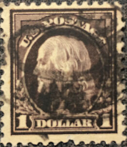 Vintage Scott #518 US 1917 1 Dollar Franklin Postage Stamp Perf 11