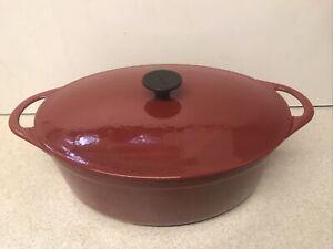 Vintage Cousances 12 Le Creuset Cerise Red Oval 28 cm Casserole Pan EX Cond