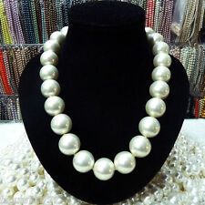 "RARE Huge 20mm White South Sea Shell Pearl Necklace 18"" AAA+"