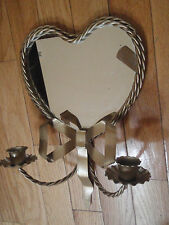 Home Interior twisted wire heart shape mirror w double arm sconce candle holder