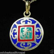 Amuleto Mandala de colores Rojo Azul Colgante Turquesa DHARMA Tibet Nepal Latón