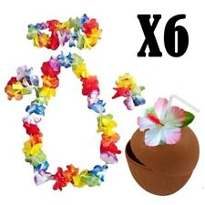 HAWAIIAN PARTY 6 x COCONUT COCKTAIL CUPS & 6 x 4pc FLOWER LEI HULA GARLANDS SETB