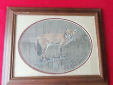 """Art Print """"Fox"""" by Don Northcutt, S/N 107/500  13""""  Matted Oval Print Framed VGC"""