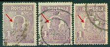 1920/1922 King Ferdinand,Definitives,CAP MIC,1 Leu,Romania,Mi.272a x3,ERROR,VFU