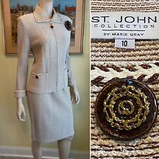ST JOHN Sz 10/Medium Copper Brown/White Gold-Thread Stretch Wool Knit SKIRT SUIT