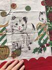 VTG Pillowcase Christmas Kitten Cat Cotton Ribbon Gift 16' x 22' Standard