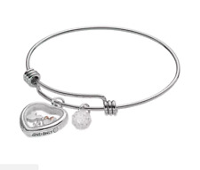 DISNEY MICKEY AND MINNIE DISNEY'S FLOATING CHARM BANGLE BRACELET MY ONE & ONLY
