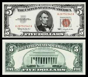 1963 $5 RED SEAL UNITED STATES NOTE ~~BRIGHT & CRISP ~GEM UNCIRCULATED