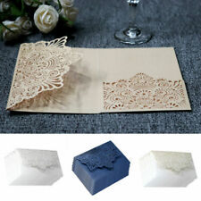 TOP 10x Fine Business Wedding Invitation Card Laser Cut Romantic Floral Lace