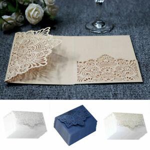TOP 10x Fine Business Wedding Invitation Card Laser Cut Romantic Floral Lace