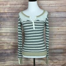Free People Women's Cotton Striped Lace Sweater Top XS