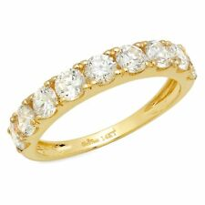 1.4 Pave set Promise Bridal Wedding Engagement Band In Solid 14k Yellow Gold