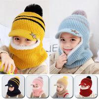 Girls Boys Baby Cute Knitted Peaked Cap Ear Flap Kid Winter Warm Hat Neck Warmer