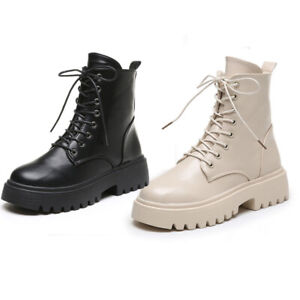 British Style Wmens Chunky Low Heel Riding Ankle Boots Lace Up Motor Biker Boots