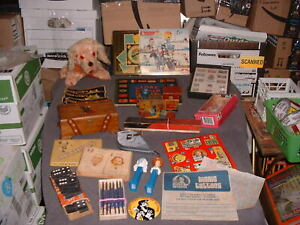 VINTAGE JUNK LOT DEALER PACKAGE COLLECTIBLES MUSIC BOX STAMPS AND MORE