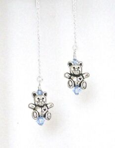 *IAJ* 3-D TEDDY BEARS w/BLUE SWAROVSKI CRYSTALS STERLING SILVER Ear Threaders