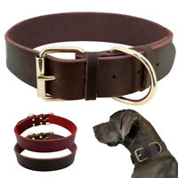 Cowhide Genuine Leather Dog Collar for Small to X-large Dogs Heavy Duty Buckle