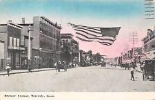 Waverly Iowa~Bremer Avenue~L&W Shoe Store~Furniture~Banner Flag~1908 Postcard
