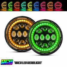 "TURBOSII 150W 7"" Round RGB DOT LED Headlight DRL For Jeep Wrangler JK LJ TJ LXY"