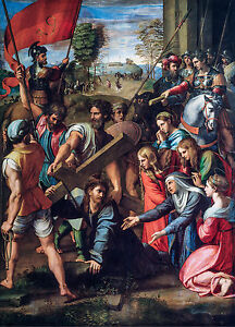 Christ Falling on the Way to Calvary - Raphael, Art Poster, Museum Canvas Print