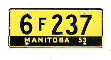AUTHENTIC CANADA 1953 MANITOBA MINI MINIATURE CEREAL LICENSE PLATE.