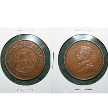 1935 AUSTRALIA ONE PENNY - KING GEORGE V COIN
