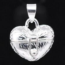 Mother's Day Locket Silver Heart Prayer Wish Box Pendant Jewelry