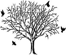 Bare tree with 4 Birds  vinyl wall decal