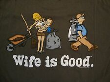 Wife is Good Funny Golfing Husband Comic Sexy Marriage dark green T Shirt L