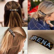 Personalised Crystal Name Slogan Word Brown Tortoiseshell Barrette Hair Clip UK