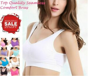 Bra Seamless Sports Bras Wire Free Crop Top Vest Comfort Stretch Shapewear Yoga