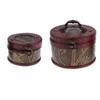 2PCS Vintage En Bois Boîte De Rangement De Bijoux Treasure Poitrine