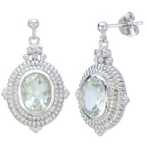 Green Amethyst Dangle Earrings (3.30 CT)