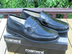 Mens Black Leather Slip On Shoes ROAMERS Size 11  REDUCED TO CLEAR