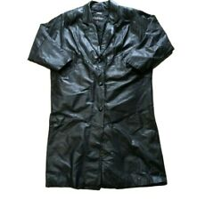 Wilsons Thisulate Leather Three Button Trenchcoat Mens Size L Black Full Length