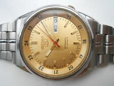 RARE Vintage SS Military Style Golden Dial Seiko 5 Gents Automatic WristWatch