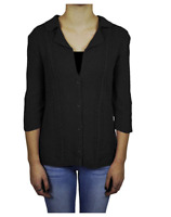 NEW Heather Women's 3/4 Sleeve Cardigan - BLACK - S / M / 1X