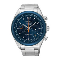 Seiko Chronograph Blue Dial Stainless Steel Mens Watch SSB091