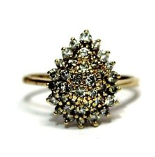 14k yellow gold 1.00ct SI2 top light brown diamond cluster ring 4.2g vintage