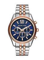 Michael Kors Lexington Chronograph Watch MK8412 Mens Blue Rosegold and Silver