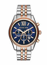 Michael Kors Lexington Chronograph Watch MK8412 Mens Blue Rosegold and Silver