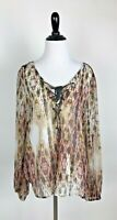 Women's Jessica Simpson Sheer long sleeve Blouse, with tie neckline, size Large