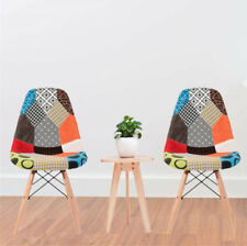 2 of Panana Patchwork Chairs Fabric Padded Seat Dining Lounge Chairs Home Office