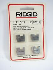 "New Ridgid 37815 Pipe Threading Dies RH 1/4"" NPT For 0-R 11-R 00-R 111-R 12-R"
