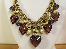 Purple Passion Glass Heart Charm Necklace on Vintage Miriam Haskell Chain