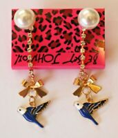 Betsey Johnson Crystal Rhinestone Enamel Bird Post Earrings