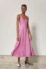 NWT Mara Hoffman Linen Ophelia Dress Pink Mauve button sz 12 Large $415