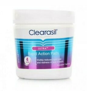3 Tubs x  Clearasil Ultra Rapid Action Pads 65 Each Reduces & Cleanse Pore Spot