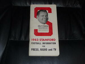 1963 STANFORD COLLEGE FOOTBALL MEDIA GUIDE EX-MINT  BOX 9