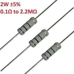 200pcs 2W Carbon Film Resistor/Resistance ±5% 107 Values Available Range